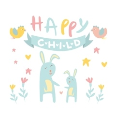 Childish bunny with mom flat vector