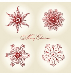 Christmas snowflakes vintage decor red vector image vector image