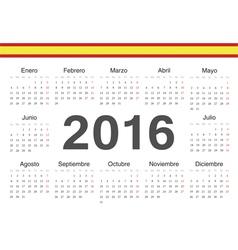 Circle spanish 2016 year calendar vector