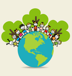 Cute children on Green Eco Earth vector image
