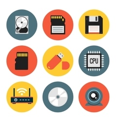 Digital data flat icons vector