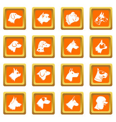 Dog icons set orange vector