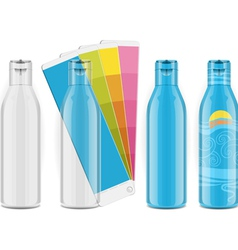 Four plastic bottles with color palette and labels vector image