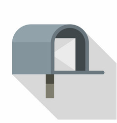 Gray mailbox icon flat style vector