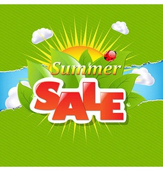 Green torn paper borders and summer sale banner vector
