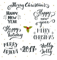 Hand drawn Christmas and New Year holiday vector image