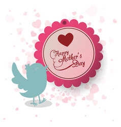 Happy mothers day invitation bird heart decoration vector