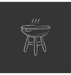 Kettle barbecue grill drawn in chalk icon vector