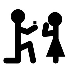 man makes an offer woman stick icon black vector image vector image