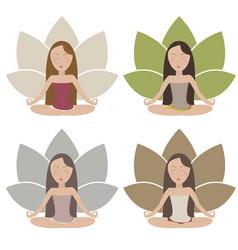 Meditating girls vector