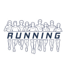 men and women running with text running vector image vector image