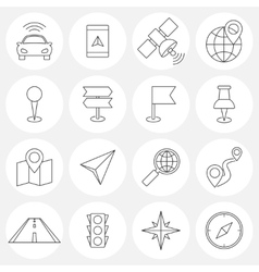Navigation line icons vector image vector image