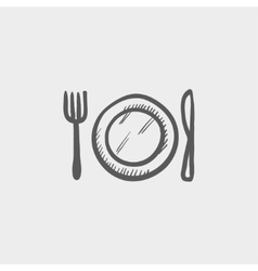 Plate knife and fork sketch icon vector