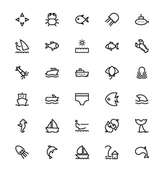 Sea Line Icons 3 vector image