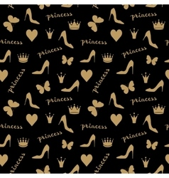 Seamless pattern Crowns butterflies shoes vector image vector image