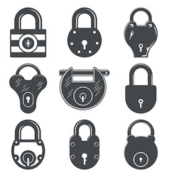 Set of nine padlocks vector