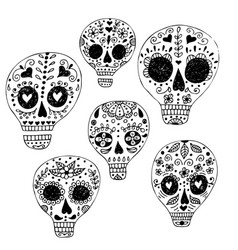 skull with floral ornament vector image