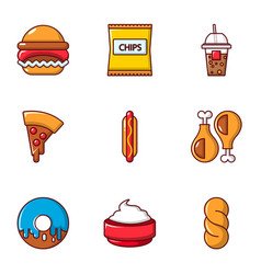 snacks icons set flat style vector image