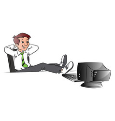 successful businessman relaxing with legs on table vector image vector image