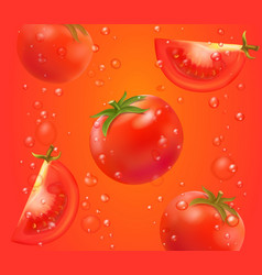 tomato juice realistic background with bubbles vector image
