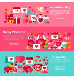 Valentine day web horizontal banners vector