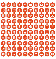 100 marketing icons hexagon orange vector