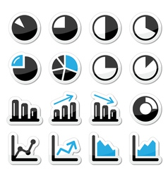 Chart graph black and blue icons as labels vector