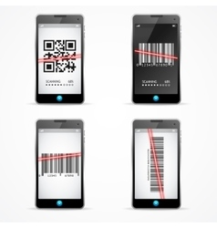 Barcode scanner mobile set vector