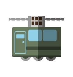 Green tram cabine vacation travel shadow vector