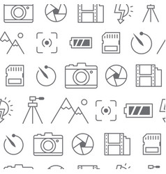 Different line style icons seamless pattern camera vector