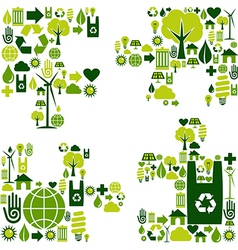 Puzzle environmental icons vector