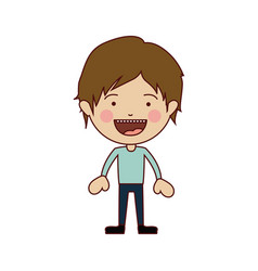 color silhouette of smiling boy standing with vector image