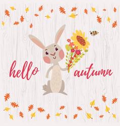 Cute cartoon bunny card vector