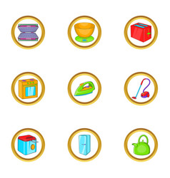 household electronic icon set cartoon style vector image