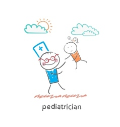 Pediatrician playing with child vector