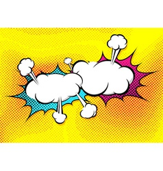Speech explosion bubble collision pop-art style vector