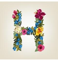 H letter flower capital alphabet colorful font vector