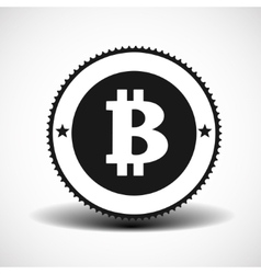 Bitcoin money icon with shadow on light background vector