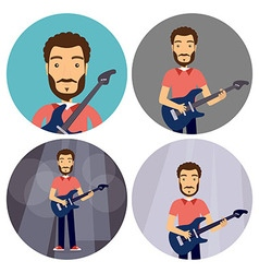 Rock music man with guitar flat circle icons set vector
