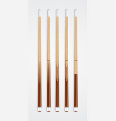 Billiard cue sticks on white background vector