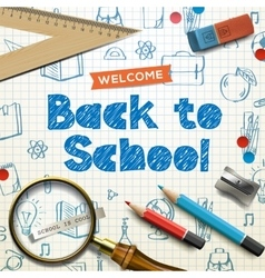 Back to school squared paper doodle background vector