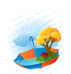 Autumn card with ambrella vector