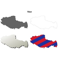 Tibet outline map set - tibetan version vector