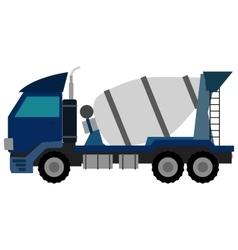 Blue concrete mixer truck flat style vector