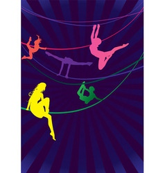 Colorful woman acrobats vector