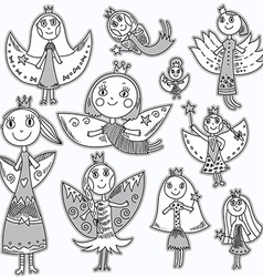 Set of cute lovely fairies in childrens drawing vector