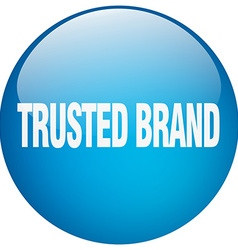 Trusted brand blue round gel isolated push button vector