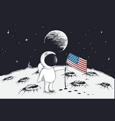 Astronaut sets a flag of usa on moon vector