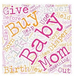 Baby shower gift text background wordcloud concept vector