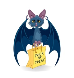 Cartoon bat with halloween bag trick or treat vector